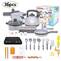 STWIE 36PCS Kids Kitchen Set Kid Playset KitchenToy Pretend Cookware Set Including Pot Pan Pressure Induction Cooker with Sound & Light, Barbecue & Food Toy Set for Toddlers Girl & Boys