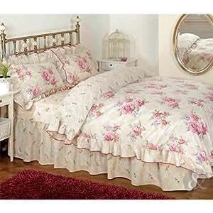 just contempo parure de lit r tro avec housse de couette et taies d 39 oreiller fronces et motif. Black Bedroom Furniture Sets. Home Design Ideas