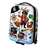Karry Kinder Koffer Reisekoffer Trolley Hartschalen Handgepäck Jungs LED Skater Rollen Pirates Piraten 819