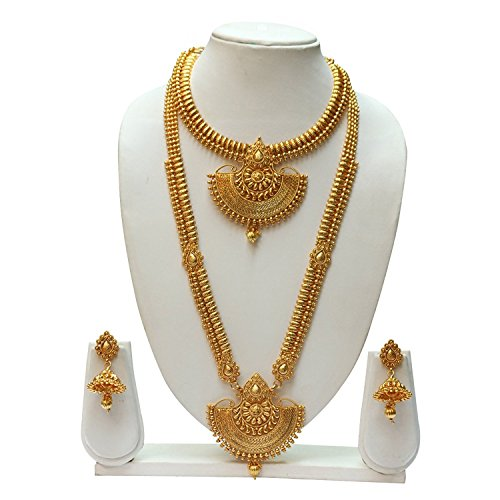 Reeva Copper Long Haram Necklace Jewellery Set for Women (Copper3)
