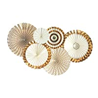 ApisNest Hanging Paper Fan Set of 6 Pieces Mixed Tissue Paper Fan Centrepiece Garland Tissue Wedding Graduation Events Party Decoration (Gold)