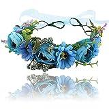 Boho Blume Stirnband Girlande Krone - Handgemachte Floral Haar Kranz mit Verstellbaren Band für Festival Hochzeit (Blau)