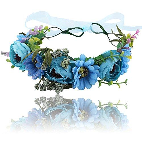 Boho Blume Stirnband Girlande Krone - Handgemachte Floral Haar Kranz mit Verstellbaren Band für Festival Hochzeit (Blau) (Kranz Band Form)