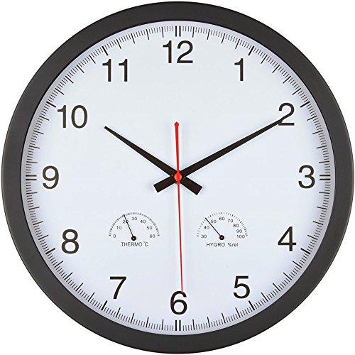 La Chaise Longue Horloge Ronde Thermomètre Hygromètre Blanc et Noir ABS et métal 36-1H-019