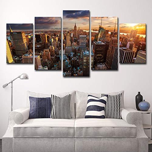 Hd Drucke Bilder Modulare Leinwand Poster Wandkunst Rahmen 5 Stücke New York City Gebäude Sonnenuntergang Landschaftsmalerei Hause kein rahmen XXL: 16X24-2P16X32-2P 16X40-1P