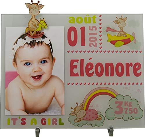 Cadre Photo Naissance - Cadeau de Naissance personnalisé avec le prénom du bébé - idéal pour la liste de naissance - pour fille - Kd-M