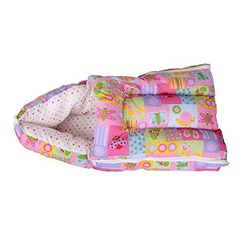 Orange and Orchid Butterfly Print Baby Sleeping Bag and Carrier Bed - Pink