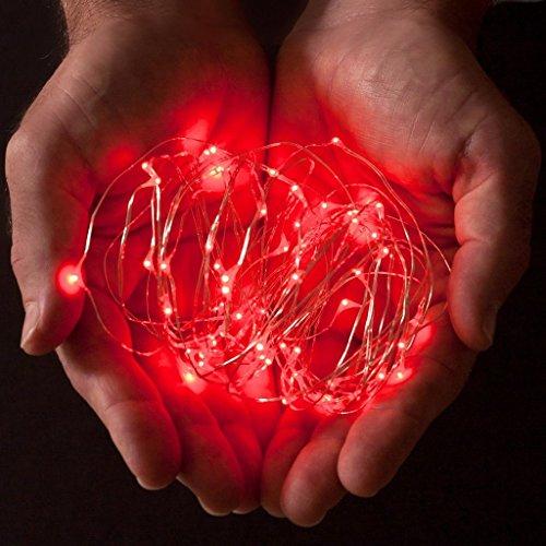 ERGEOB 2 stück 20 LED/ 2 Meter Knopfbatterie Lichterketten super helle Farben Micro LED Ultra Thin String rot (Ultra Roter Farbe)