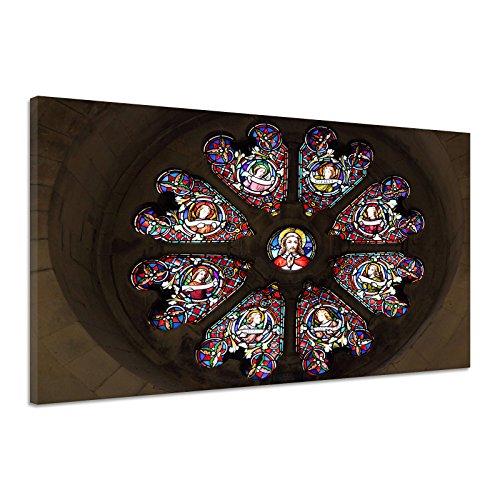 Glasmalerei Bunt Jesus Kunst Christentum Glaube Leinwand Poster Druck Bild aa3562 120x80