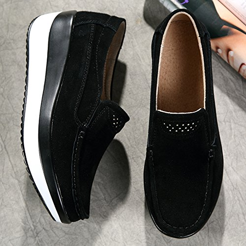 4d68089867e HKR Women Loafers Slip On Platform Sneakers Comfort Suede Driving Moccasins  Shoes