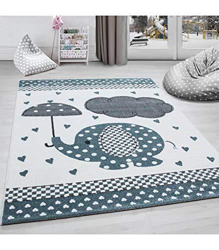 Kinderteppich Kinderzimmer Teppich Elefant Herzregen Grau-Weiß-Blau - 160x230 cm