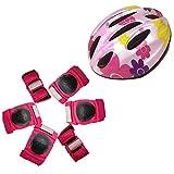 ZCRFY Protettivo 7Pcs / Set Kids Roller Skating Casco Regolabile Ginocchio Polso Pad Pad Protector Gear per Skateboard Biking Multi Sports Scooter Bicicletta Rollerblades,Pink2-S(10-22KG)