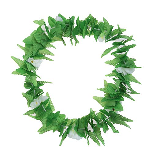 Amosfun Hawaii Performance Garland Dance Dekor grün Blatt Blume Schleife für Mädchen Frau Lady Green