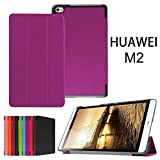 Huawei MediaPad M2 8.0 Case,Xindayi Ultra Slim Tri-Fold Leather Case Stand Cover for 8' Huawei MediaPad M2 Tablet PC (M2 8.0 Tri-Fold, purple)