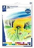 STAEDTLER 2430 C36 Softpastellkreiden (hoher Grad an Lichtbeständigkeit, weicher Abstrich, leicht verwischbar) Kartonetui mit 36 brillanten Farben