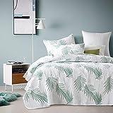 WDXN Cubierta de Cama Blanca Colchas Cama Sabanas 135,Cubierta de Cama Acolchada Tridimensional de Hoja de Palma Verde con 2 Fundas de Almohada,White,230 * 250cm