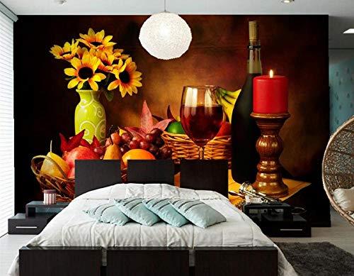 Fiartel Benutzerdefinierte Stillleben Wein Kerzen Obst Vase Essen Tapete, Hotel Restaurant Bar Wohnzimmer TV Sofa Wand Schlafzimmer Küche Tapete-400X280CM