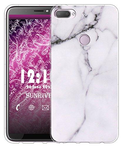 Sunrive Für HTC Desire 12+ Hülle Silikon, Transparent Handyhülle Luftkissen Schutzhülle Etui Case für HTC Desire 12+(TPU Marmor Weißer)+Gratis Universal Eingabestift