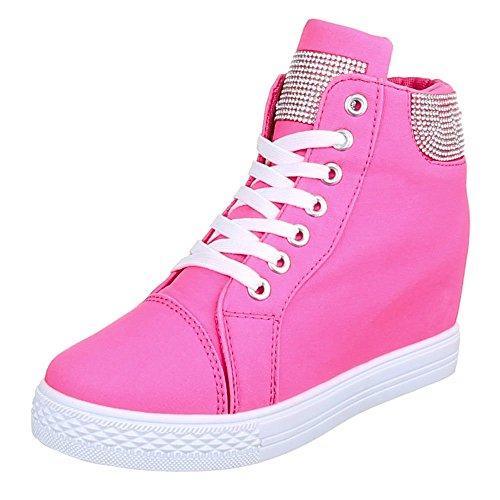 Damen Schuhe, 51153-Y, FREIZEITSCHUHE KEILABSATZ HIGH-TOP SNEAKER HIGH-TOP KEILABSATZ Pink