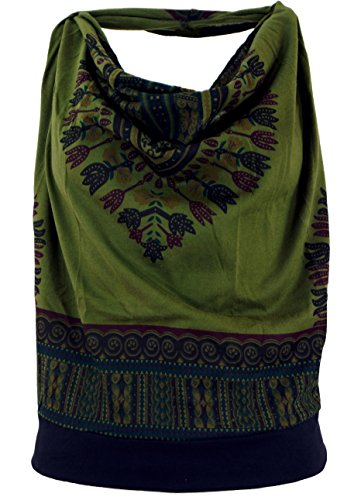 ashiki Psytrance Neckholder Top, Damen, Olive, Synthetisch, Size:S/M (34/36), Tops, T-Shirts, Shirts Alternative Bekleidung ()