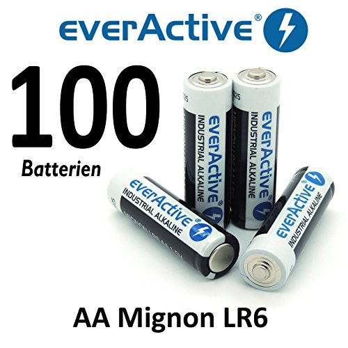 100 x everActive Mignon AA LR6 MN1500 MX1500 Alkalinebatterie Batterien 2900 mAh - 8 Ea-alkaline-batterien