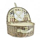 Mimbre tradicional cesta de picnic 'Westbury' para 2 personas con compartimiento de refrigeración integrado - Una canasta de regalo ideal para Navidad, cumpleaños, boda