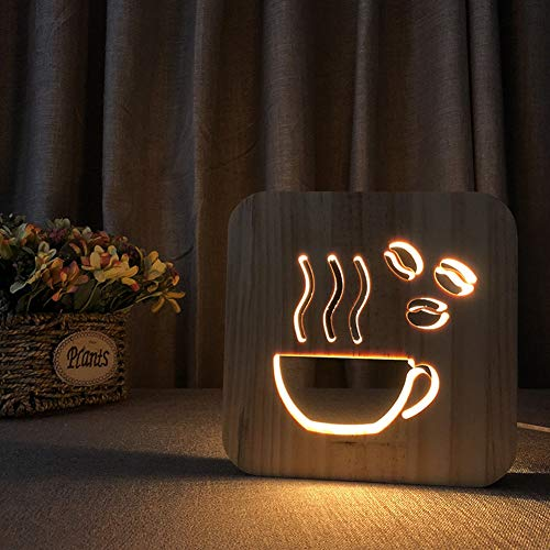 LED- Schreibtischlampe 3D Illusions Lampe Kreative Kaffeetasse Form Hölzerne Nachtlicht Bettdecke Licht Auge Pflege Arbeitslicht Studieren Lampe Geschenk Für Kinderschlaf Zimmer (Hölzerne Lampe)