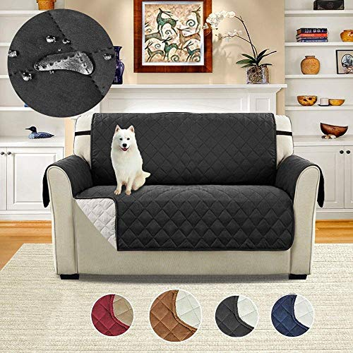 CWeep Sofa Shield-Quilted Sofa Protector Slip Throw Water Resistant Cover Blanket Dog Cat Pet Waterproof Bed Chair Couch Settee Seater Mat Furniture Accessory(Double Person) Quilted (Black/46x75inch) Cover Shield Protector