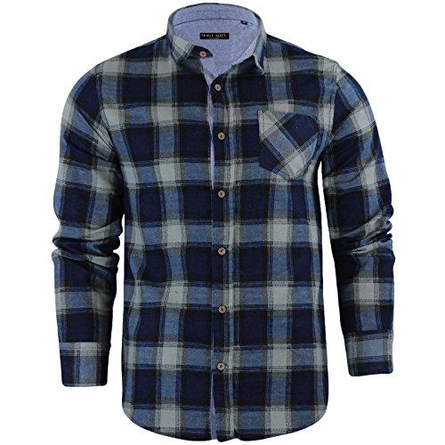 Brave soul - camicie casual - 'garfield' - scacchi, quadretti - con colletto - manica lunga - uomo (garfield - mid blue) s