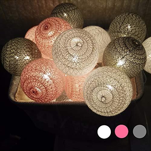 LED Lichterkette mit Kugeln, Morbuy 6CM Baumwollkugeln Mit 10/20/30 Bällen Batteriebetrieben Deko Festlich Hochzeiten Geburtstag Party Cotton Ball Weihnachten Dekorative (3.3m / 20 Lichter, Grau) -