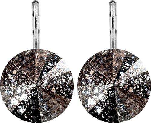 petra kupfer Damen Ohrringe Ohrhänger Rivoli 1 Swarovski®-Kristall 14 mm Schwarz patiniert Black Patina Versilbert hk14tb-black-patina