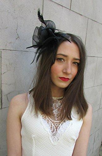 Peigne à Cheveux bibi avec plume et filet noir Races mariage Cocktail Y87 Vintage * * * * * * * * exclusivement vendu par – Beauté * * * * * * * *
