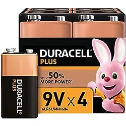 Duracell Plus, Lot de 4 piles Alcalines Type 9V, 6LR61
