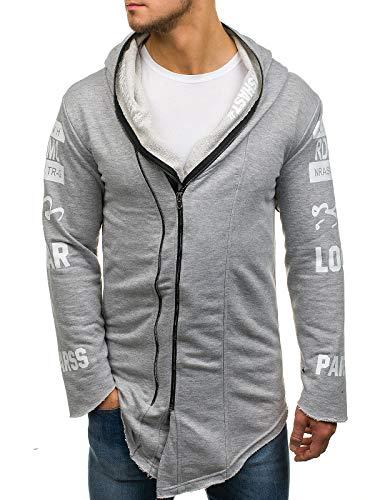 BOLF Herren Kapuzenpullover Sweatjacke Lang Sweatshirt Zip Hoodie Street Style Madmext 1772 Grau L [1A1] -