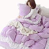 Unbekannt Mali Prinzessin Stil Kristallsamt Bettbezug Einfach Einfarbig Vlies Stickerei Bettwäsche 4-Teiliges Set,Purple,M