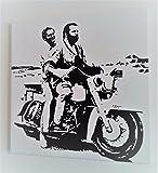 Bud Spencer und Terence Hill in Motorrad–Bild moderne handbemalt auf Leinwand Pop Art Effect (Format 40x 40cm)
