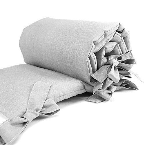 Sugarapple Baby Nestchen Bettumrandung dick gepolstert für Beistellbetten, Kopfschutz und Kantenschutz für babybeistellbetten, Bettnestchen Maße: 170 x 25 cm, Uni grau