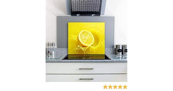 Herdabdeckplatten Ceranfeldabdeckung Spritzschutz 2x30x52 Zitrone Gelb 3d Effekt