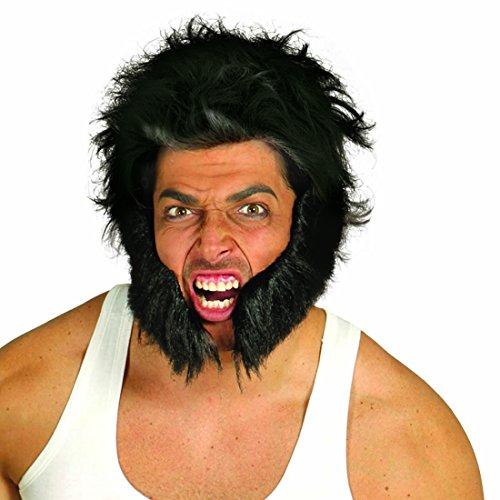 Barba postiza de rockero Chuleta de motero negro Afeitado de tío duro Barba para pegar Caracterización lobezno Complemento para disfraz
