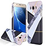 We Love Case for Samsung Galaxy J5 2016 Case, Premium PC Hard Back Marble Print Pattern Patchwork Cut Out Design Cute Clear Ultra Slim Thin Cover, Plastic Protective Shock Absorption Proof Drop Defend Anti Scratch Shell for Samsung Galaxy J5 2016 - Colorful Cutout