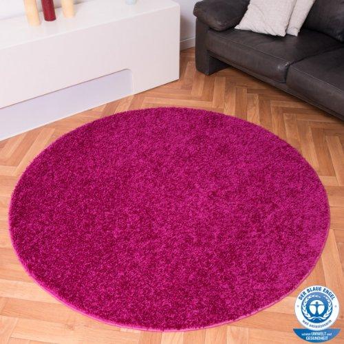 Preisvergleich Produktbild Havatex: Hochflor Teppich Shaggy Amarillo Pink rund / Prüfsiegel: Blauer Engel / Flormaterial: 100 % Polypropylen / pflegeleicht und strapazierfähig / in verschiedenen Größen erhältlich, Größe Auswählen:67 cm rund