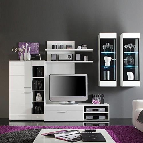 Maisonnerie 1145-963-02 Ensemble Meuble TV Face Blanc Ultrabrillant LxHxP 302x204x50 cm