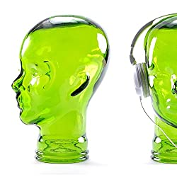 "KOPFHÖRERSTÄNDER ""MICK"" | Glas, transparent/grün, 29 cm | Glaskopf, Deko Kopf"