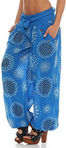malito Damen Pumphose mit Print | leichte Stoffhose inkl. Gürtel | bequeme Freizeithose | Haremshose �?lässig 3481 Blau