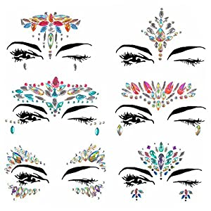Weimi Face Gems Glitter Rhinestone Temporary Tattoo Face Jewels Crystals Face Stickers Eyebrow Face Body Jewelry(6 PCS Colorful)