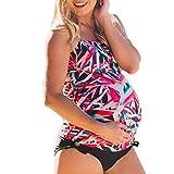 Costume da Bagno Donna maternità feiXIANG Bikini per Premaman Bikini Set maternità Tankini Costume da Bagno Donna con Stampa Bikini A Righe Costume da Bagno di Stampa dei Fiori (Rosso, 2XL)