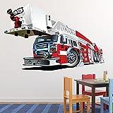 Camion de pompier Autocollant mural Red Fire Engine Sticker Garçons Chambre à coucher Décor Disponible en 8 tailles X-Grand Numérique...