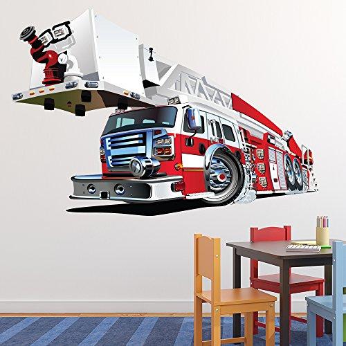 Preisvergleich Produktbild Feuerwehrauto Wandaufkleber Red Fire Engine Wandtattoo Jungen Schlafzimmer Haus Dekor Erhältlich in 8 Größen XXX-Groß Digital