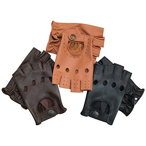 Prime Leather Prime - 309- Guanti da Guida da Uomo in Vera Pelle,per Motocicletta, Ciclismo, Sport all'aperto, Lavoro, Campeggio, Escursionismo, Auto dal Designer Stile Classico Retro Mezze Dit