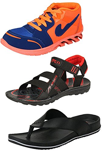 Maddy Perfect Combo of Running Shoes, Sandal & Slipper for Men Pack of 3 in Various Sizes (9)